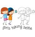 doodle girls taking selfie vector image