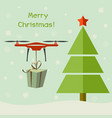 drone delivering christmas gifts under christmas vector image vector image