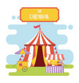 fun fair carnival tent booth food snacks vector image vector image