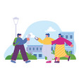 girls walking in street city with map and vector image vector image