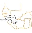 Guinea hand-drawn sketch map vector image