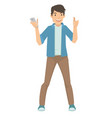 happy young male showing his smart phone vector image vector image