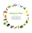 hiking in a park concept banner card circle 3d vector image vector image