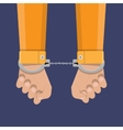 human hands in handcuffs vector image vector image