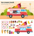 Ice cream truck in a hot day vector image vector image