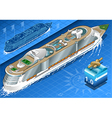 Isometric Cruise Ship in Navigation in Rear View vector image vector image