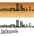 Jacksonville skyline in orange vector image vector image