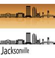 Jacksonville skyline in orange vector image vector image