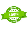 login ribbon login round green sign login vector image vector image