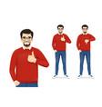 man gesturing thumb up and thumb down vector image vector image