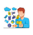man with shopping online icons pop art style vector image vector image