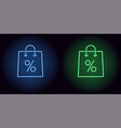 neon shopping bag in blue and green color vector image
