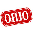 ohio red square grunge retro style sign vector image vector image