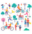 park full of people icons set vector image