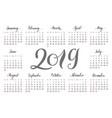 pocket calendar 2019 handdrawn lettering vector image vector image