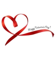 Red heart ribbon bow isolated vector image