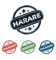 Round Harare city stamp set vector image vector image