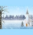 scenery winter in church go down snow vector image