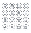 school education learning line icons set vector image