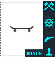 skateboard icon flat vector image vector image
