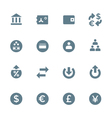 Solid grey various financial banking icons set