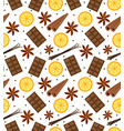 spices seamless pattern mulled wine and chocolate vector image vector image