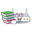student with book router placed on wooden cartoon vector image vector image