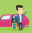 young asian man traveling by car vector image vector image