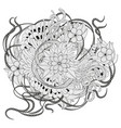 zen tangle floral pattern vector image vector image