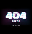 404 error page not found in glitch effect style vector image vector image