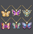 a set butterfly pendants with precious stones vector image vector image