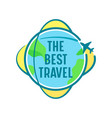 best travel icon with airplane flying over vector image