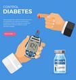 blood glucose meter in hand vector image vector image