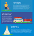 camping banner tourist bus with canoe tipi tent vector image vector image
