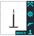 candle icon flat vector image vector image