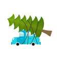 car and fir-tree machine driven by green tree in vector image vector image