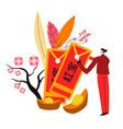 chinese symbols sakura and red envelopes vector image vector image