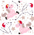 chrismas pink unicorn pattern vector image vector image