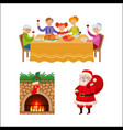christmas family dinner chimney and santa claus vector image