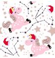 christmas pink unicorn pattern vector image vector image