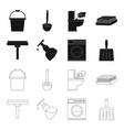 cleaning and maid blackoutline icons in set vector image vector image