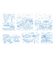 collection summer landscapes with sea or ocean vector image vector image