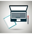 computer and book isolated icon design vector image vector image