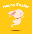 cute cartoon bunny is jumping and smiling vector image vector image