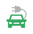 electric car icon automobile with charging vector image