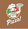 emblem of funny italian chef with pizza and logo vector image vector image