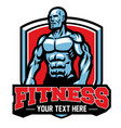 fitness center badge with muscular man vector image