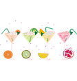 fruits fresh cocktail glasses set summer drinks vector image vector image
