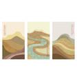 geometric oriental landscape set vector image