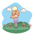 girl smiling outdoors cartoon vector image